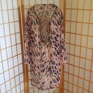 Leopard Print Beaded Cover Up Dress Top